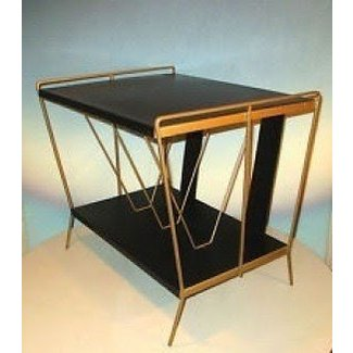 Vintage mid century modern record player stand album rack