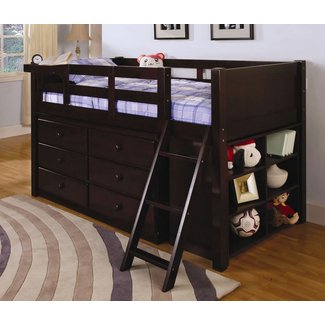 Vista students twin loft bed with plenty of storage underneath