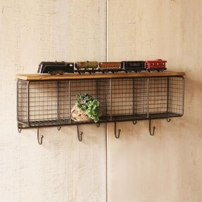 garden and wall product home shelf canvas with free bins hooks storage entryway