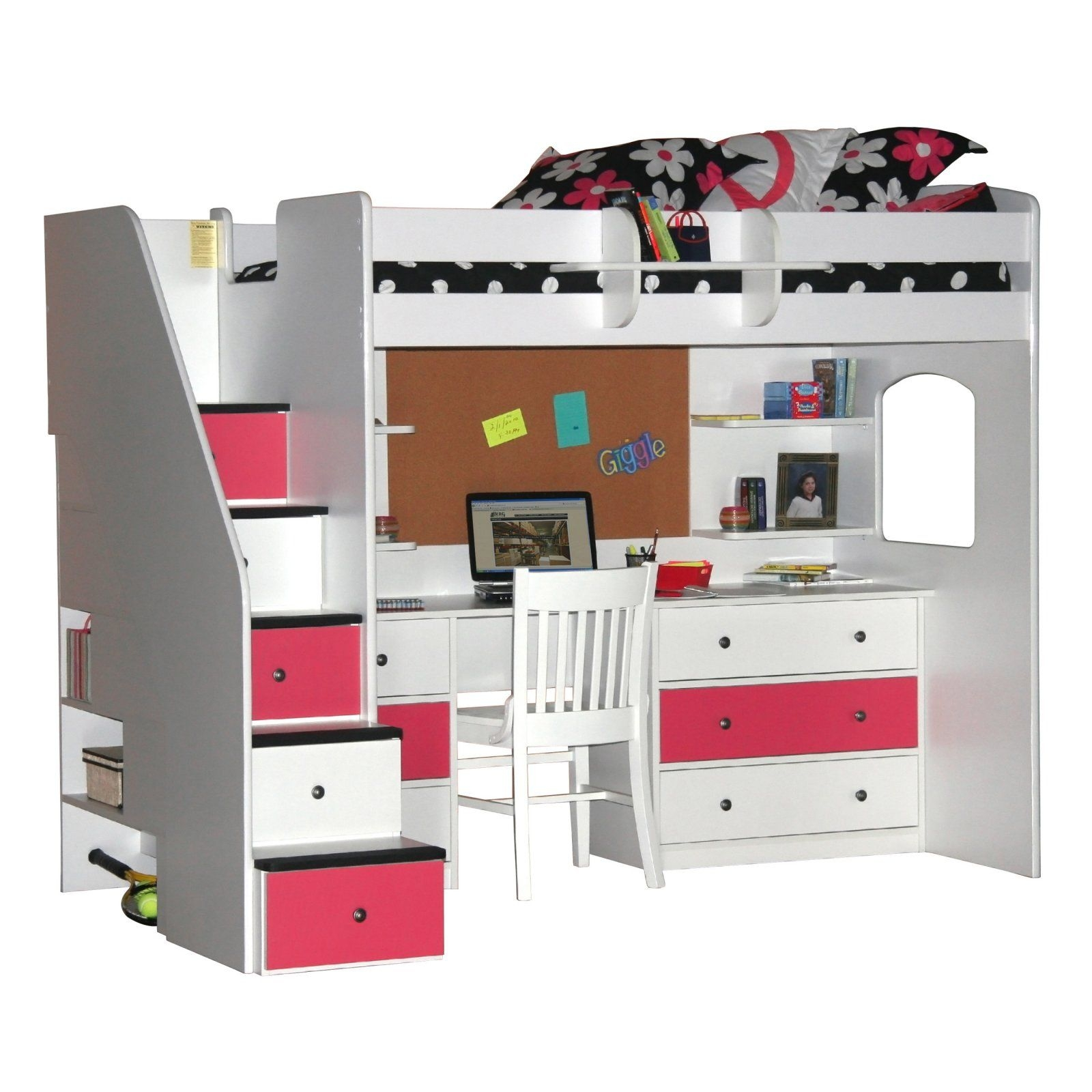 white loft bed with desk and stairs foter rh foter com loft bed with stairs and desk underneath bunk bed with storage stairs and desk