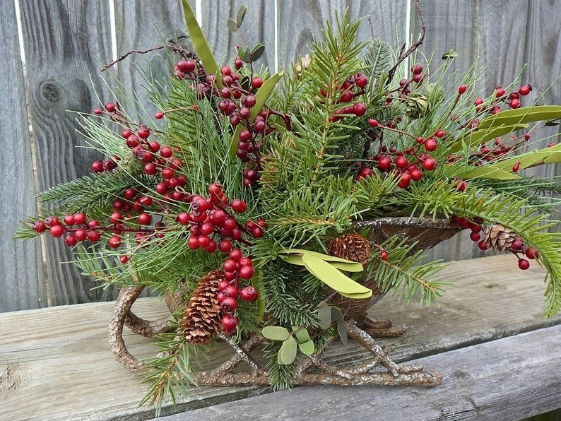 Winter christmas floral arrangement