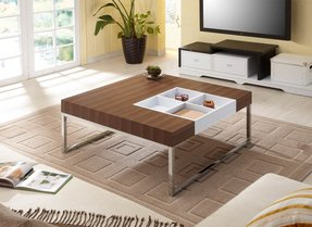 Wood And Chrome Coffee Table 22