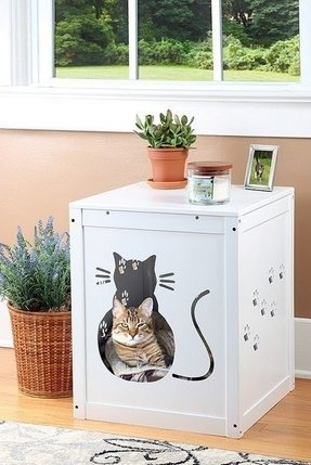 Wooden cat litter box furniture