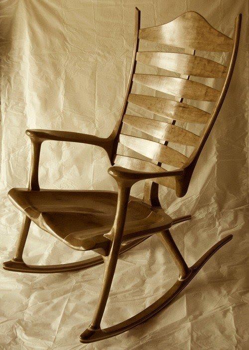 Antique//Vintage adult rocking rocker arm chair dark brown leather look vinyl?