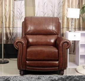 Abbyson Living Aron Hand Rubbed Pushback Leather Recliner