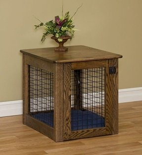 Amish Made Chew-proof Wooden Dog Crate Large Oak
