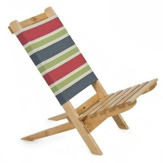 Beach Chair Solid Wood Lounge Lawn Portable Stylish Fabric