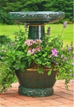 Bird bath from recycled materials