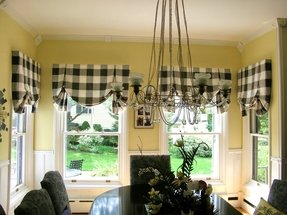 Black and white plaid curtains