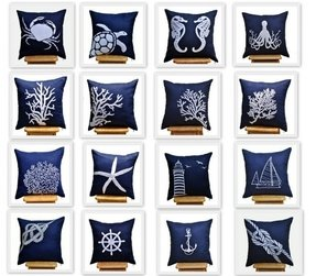Blue sailing pillow covers 18 x 18 throw