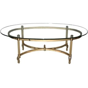 Br Chrome Gl Top Oval Coffee Table