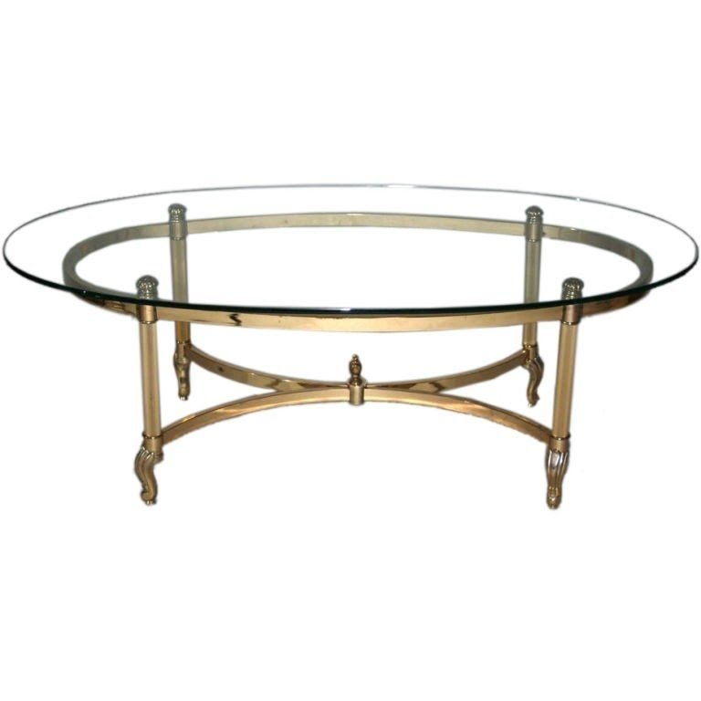 Brass Chrome Glass Top Oval Coffee Table