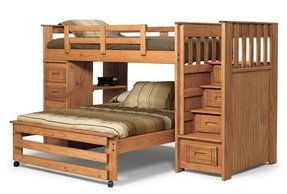 Chelsea Home Furniture Twin Over Full Stairway Bunk with 4 Drawer End Honey