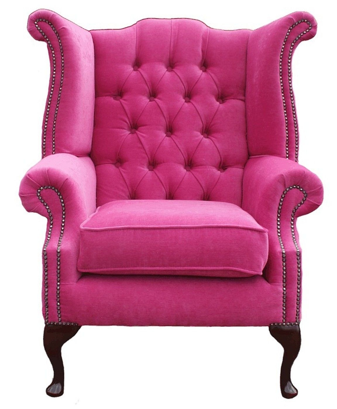 Chesterfield Fabric Queen Anne High Back Wing Chair Pink Leather