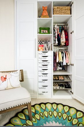 Childrens white wardrobe with drawers