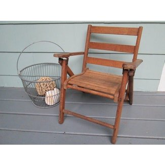 Childs folding wooden beach chair
