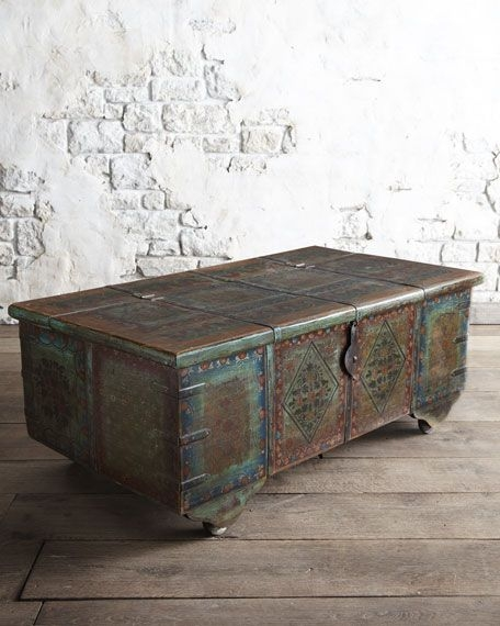 Nice Distressed Turquoise Coffee Table
