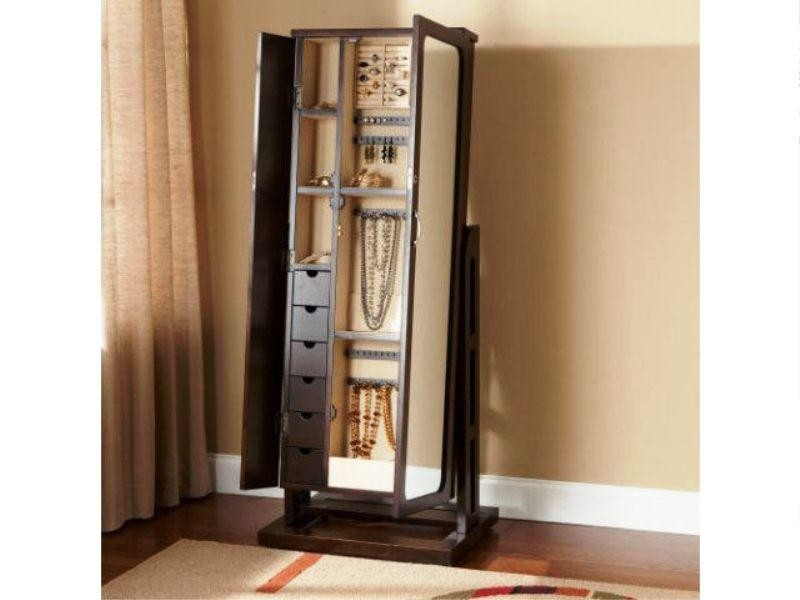 Lovely Floor Standing Mirror Jewelry Armoire