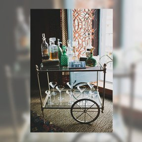 Gasby inspired wedding los angeles 20s bar cart decanter vintage