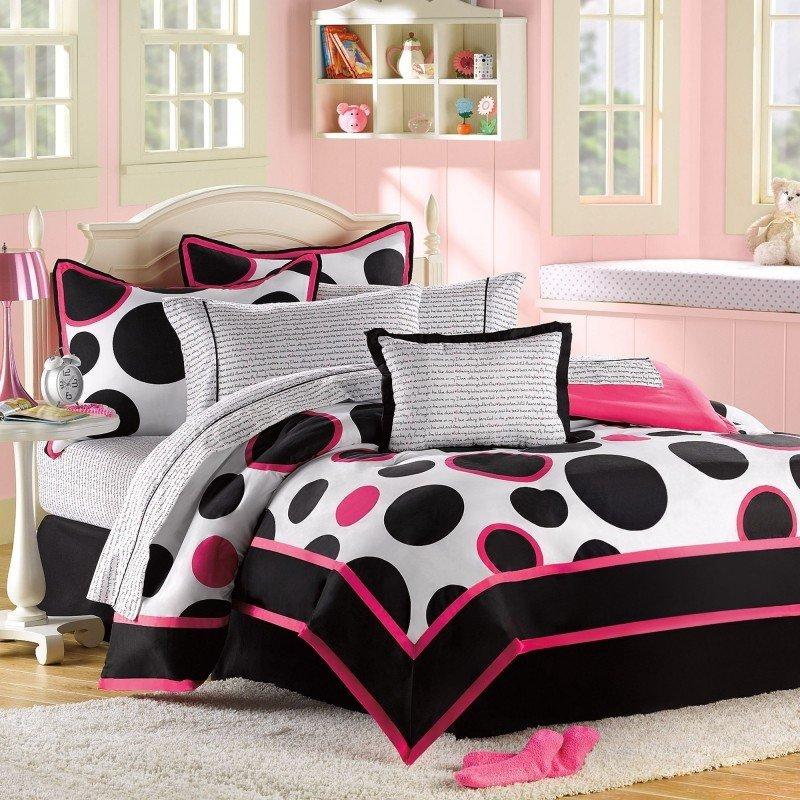 Girls Comforter Set Teen Bedding Black White Pink Twin Valances