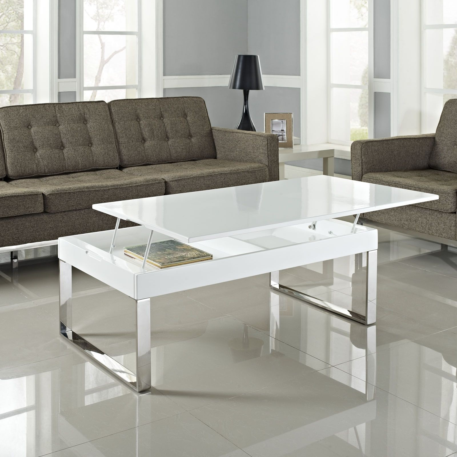 Glass Chrome Coffee Table 6