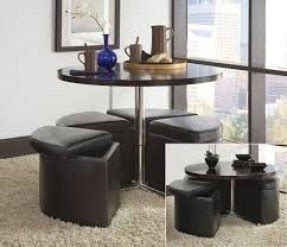 Elegant Glass Coffee Table With Ottomans Underneath 1