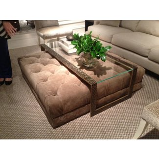 Gl Coffee Table With Ottomans Underneath