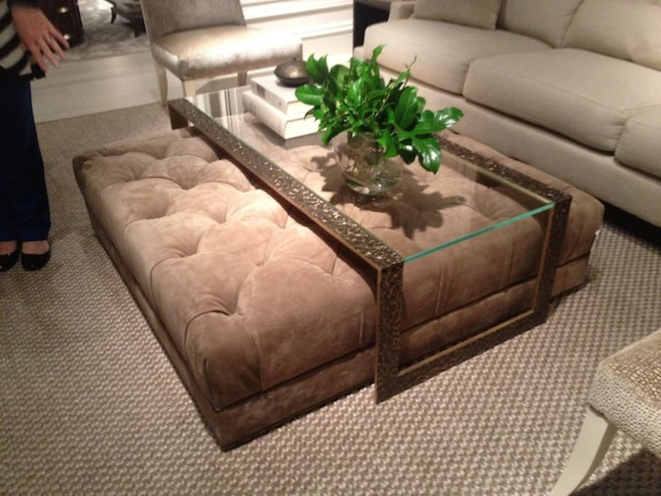 Glass Coffee Table With Ottomans Underneath