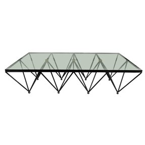Glass top coffee table with metal base 2