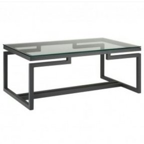 Glass top coffee table with metal base