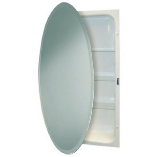 Headwest Beveled Oval Mirror Recessed Medicine Cabinet 24 Inch By 36