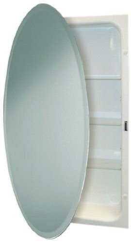 Beau Headwest Beveled Oval Mirror Recessed Medicine Cabinet, 24 Inch By 36 Inch