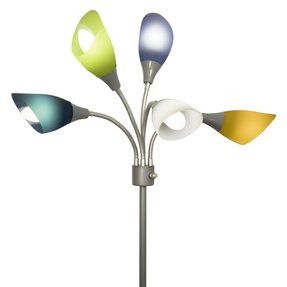 Home Design Medusa Silver Floor Lamp with Multicolor Acrylic Shades