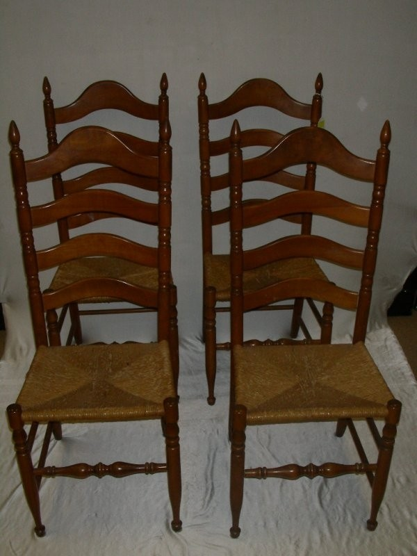 Image 1 652 Four Maple Ladder Back Chairs W Rush