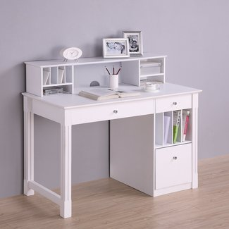 Kids White Desk With Hutch - Foter