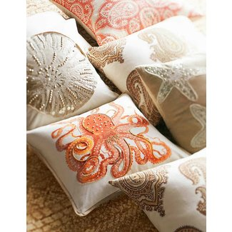La paz jeweled octopus embroidered pillow covers