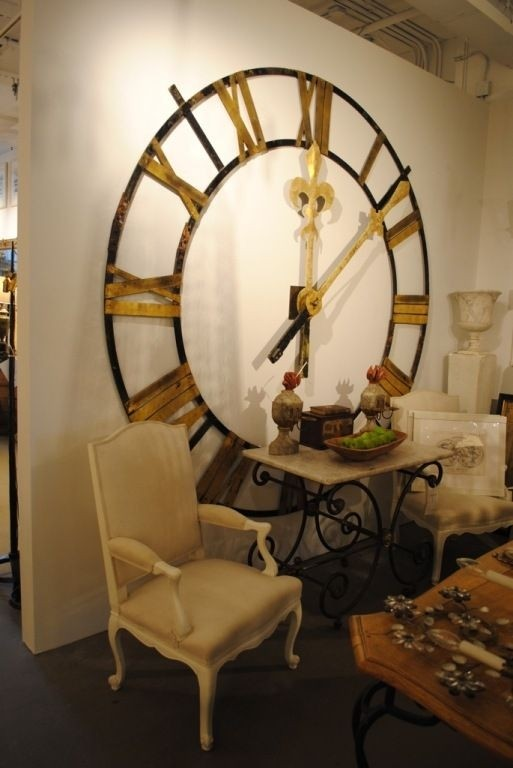 Large scale wrought iron clock face