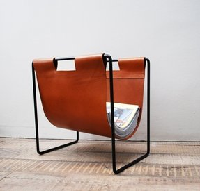 Leather magazine rack 12