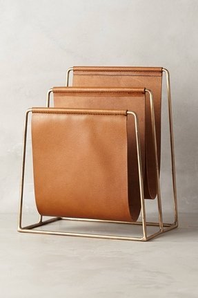 Leather magazine rack 3