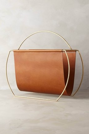 Leather magazine rack 4
