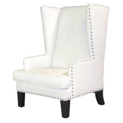 Master Bedroom White Leather Wingback Chair With Nailhead Accents Not