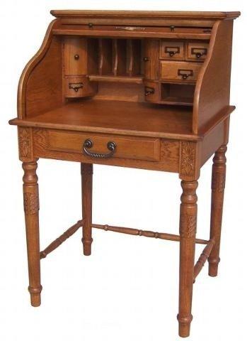 Charmant Oak Roll Top Secretary Desk