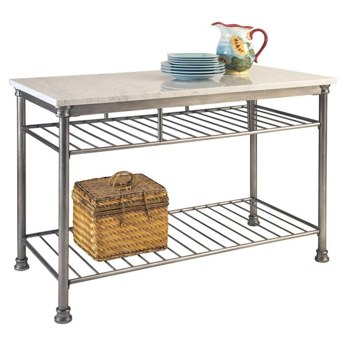 Orleans Marble Top Kitchen Island In Steel I Really Want