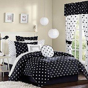 black and white polka dot comforter set foter. Black Bedroom Furniture Sets. Home Design Ideas