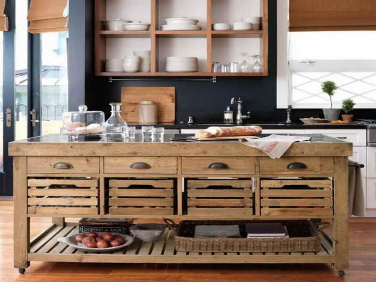 Genial Rustic Kitchen Islands And Carts