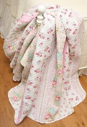 Shabby n chic megan pink rose cottage cotton quilt throw