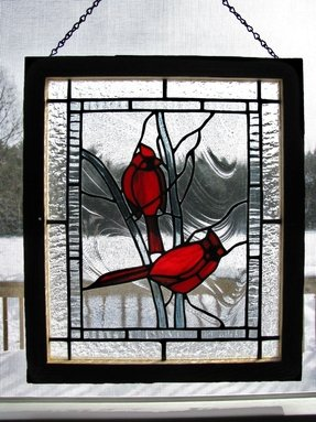 Stained glass cardinal panel