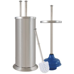 Toilet brush and plunger set