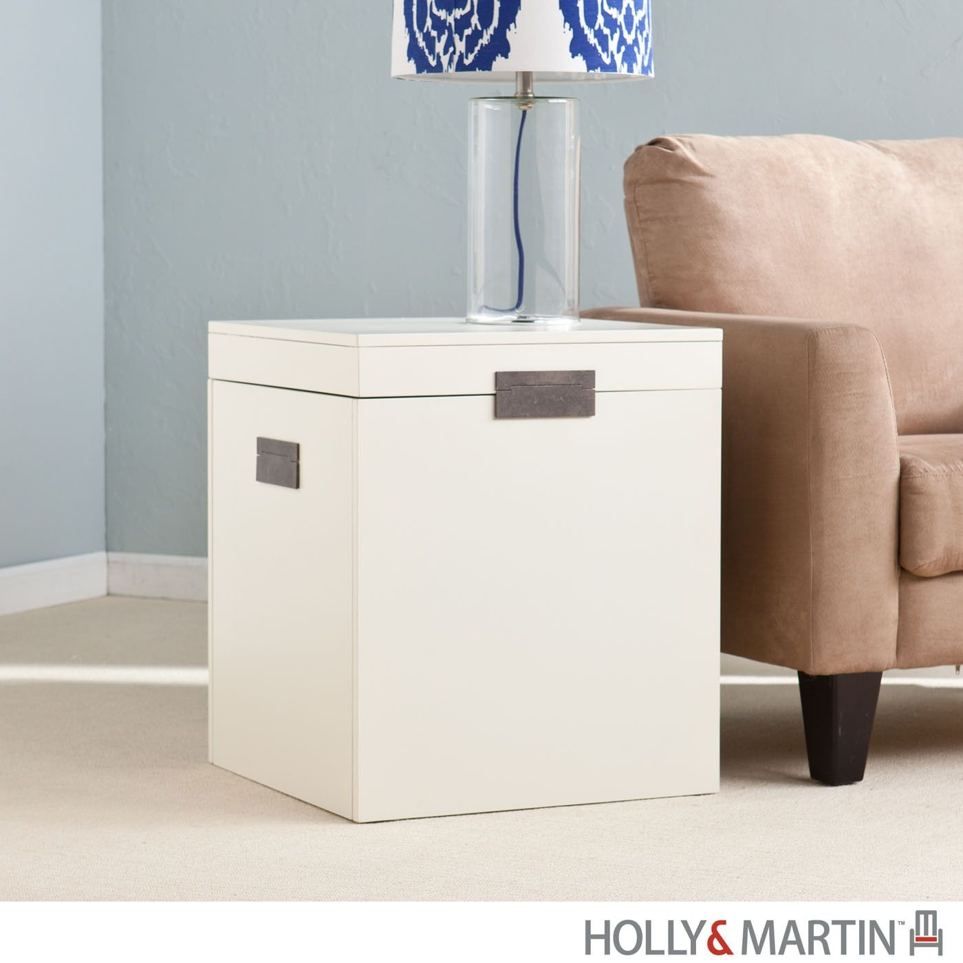 Trunk Lamp Table. Storage Trunk End Table , White ...