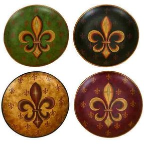 "Tuscan Old World Fleur De Lis 10"" Decorative Plates Set of 4 New"